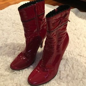 Casadei Red Patent Leather Ankle Boots from Italy